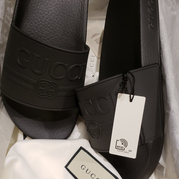 Gucci Print Rubber Slides Size 10 NEW w tags RFID